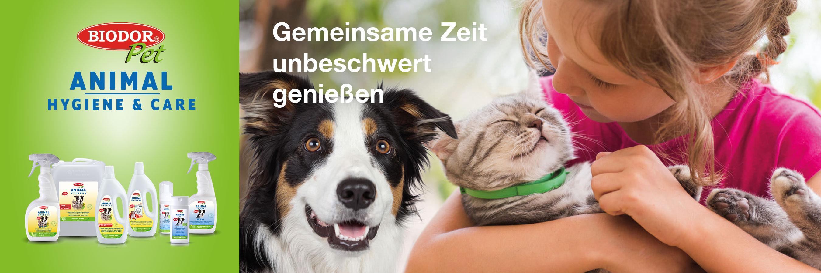 Biodor Pet Geruchsentferner und Pflegeprodukte