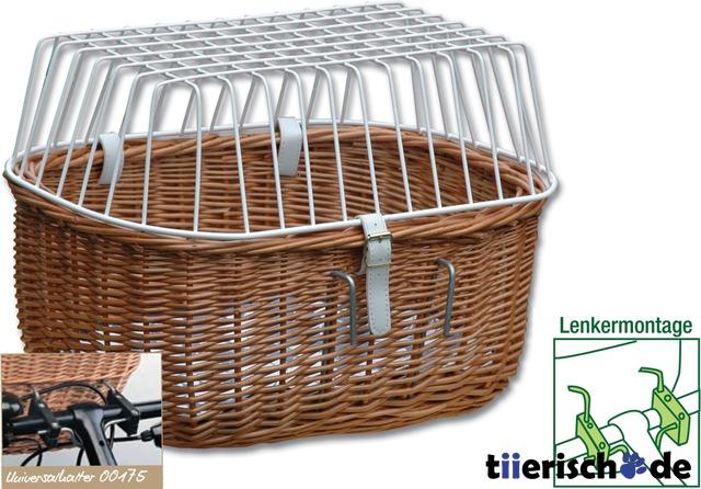 Aumüller Hunde Fahrradkorb für Lenker mit Gitter, 45 x 32 x 31 cm - mit Montagesystem