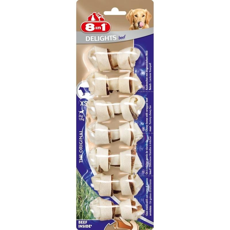 8in1 Beef Delights Kauknochen XS für kleine Hunde, XS, 7 Stück für kleine Hunde bis 12 kg