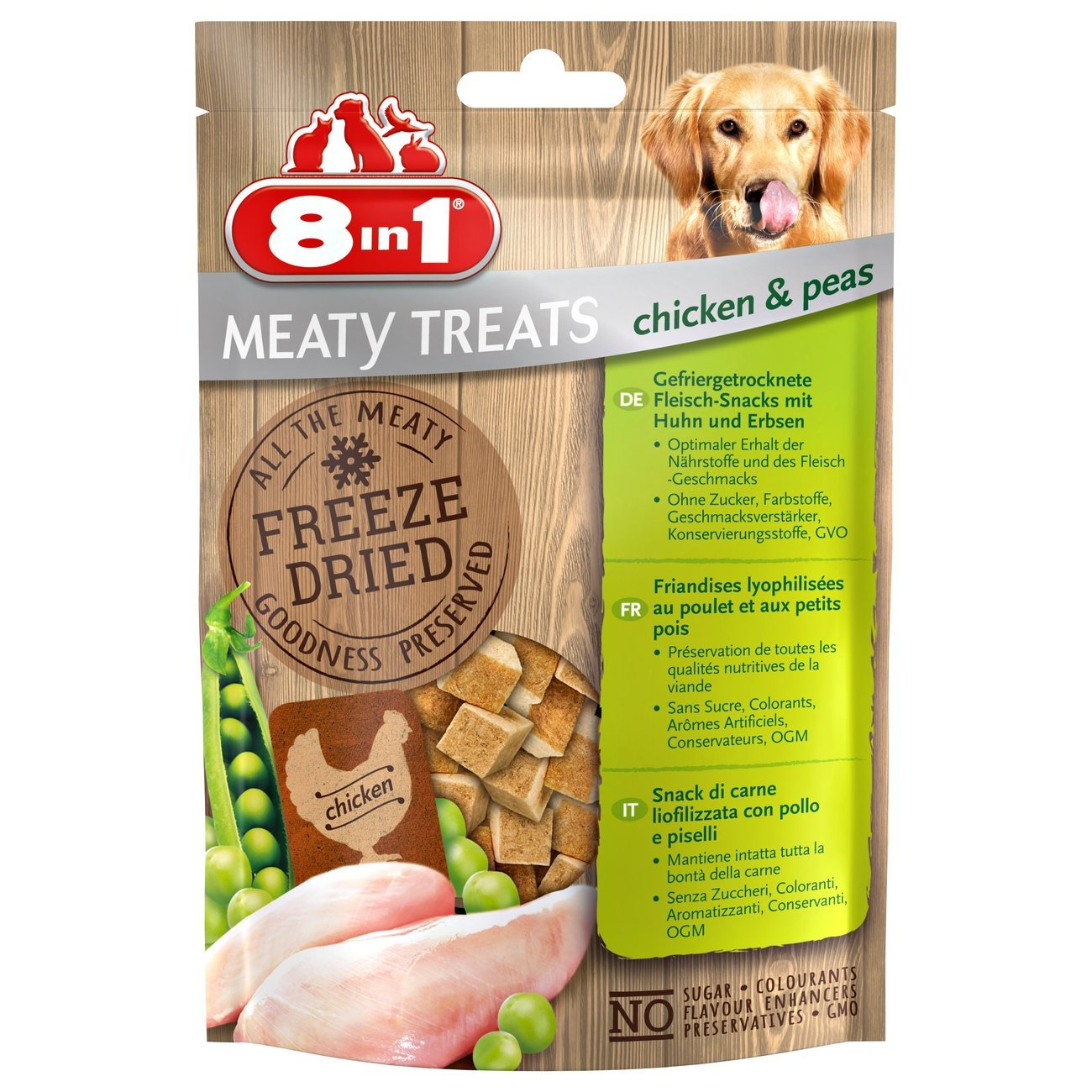 8in1 gefriergetrocknete Würfel Leckerlis, Huhn und Erbse, 50 g