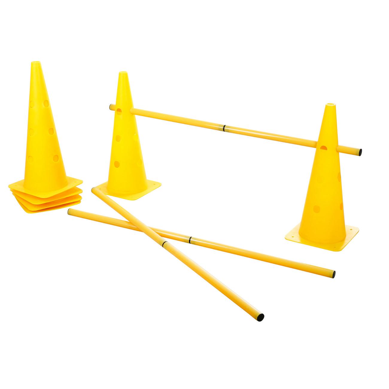 Kerbl Agility Pylonen-Hürden Set für Hunde, gelb, 3 Hürden, 6 Pylonen