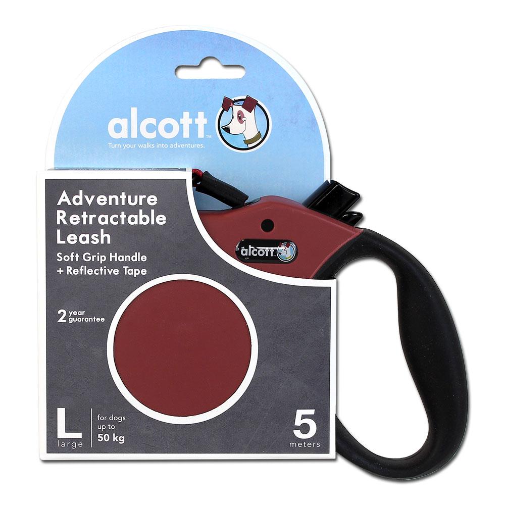 Alcott Abenteuer Gurt-Rollleine für Hunde, L: 5m, rot
