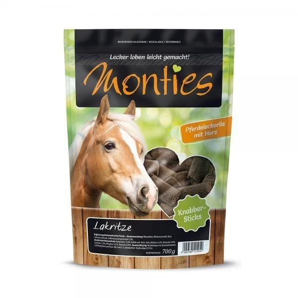 Allco Monties Pferdeleckerlis gepresste Sticks, Lakritze Sticks 700g