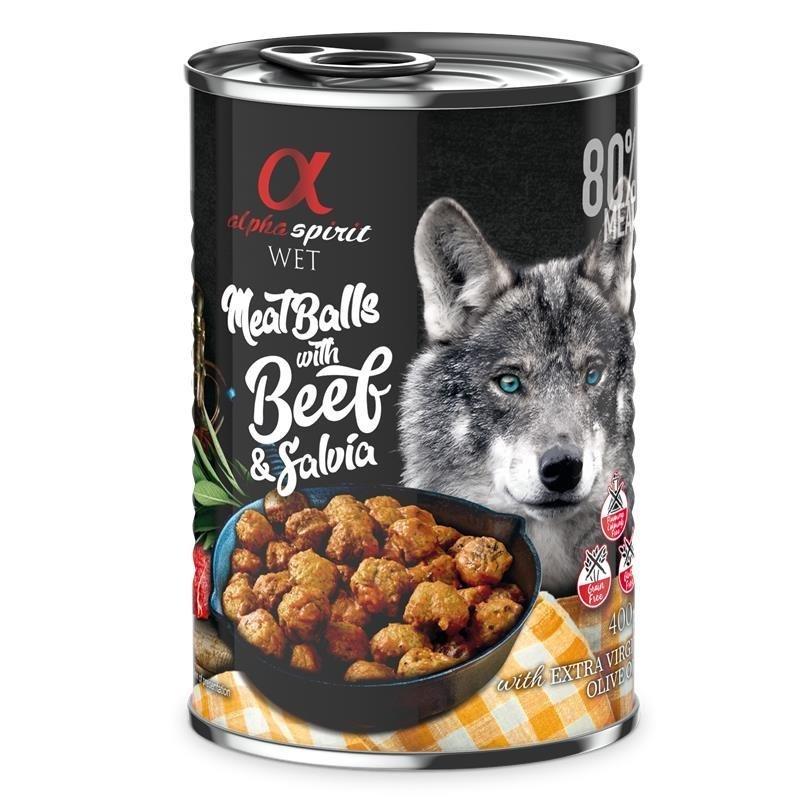 Alpha Spirit MeatBalls Hundefutter, Rind mit Salbei 12 x 400 g
