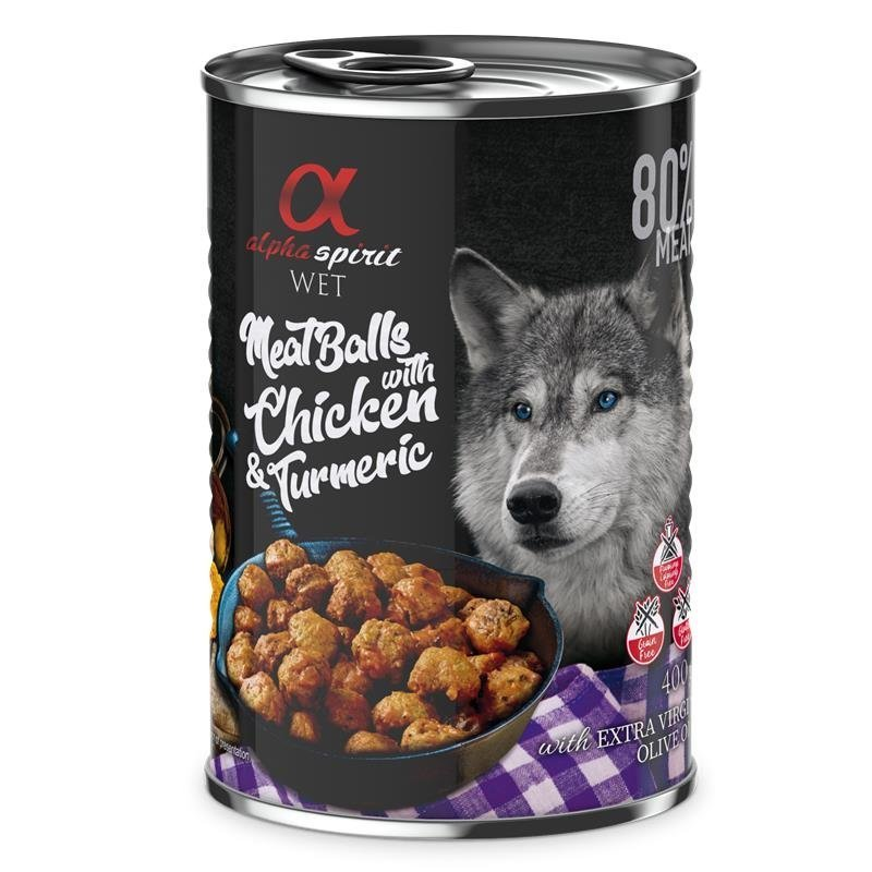 Alpha Spirit MeatBalls Hundefutter, Huhn mit Kurkuma 12 x 400 g