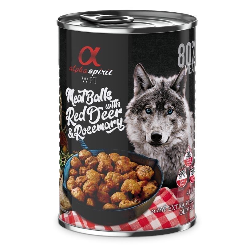 Alpha Spirit MeatBalls Hundefutter, Rotwild mit Rosmarin 12 x 400 g