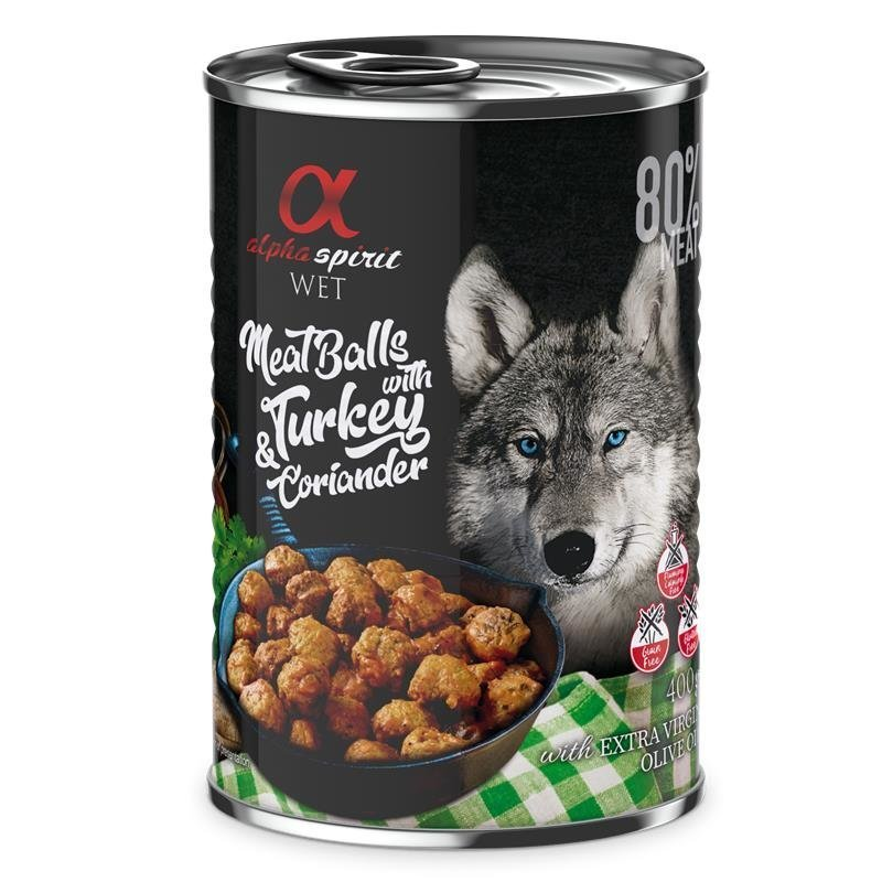 Alpha Spirit MeatBalls Hundefutter, Truthahn mit Koriander 12 x 400g