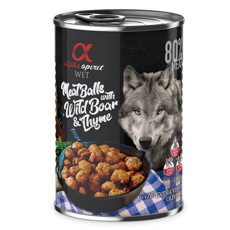 Alpha Spirit MeatBalls Hundefutter, Wildschwein mit Thymian 12 x 400g