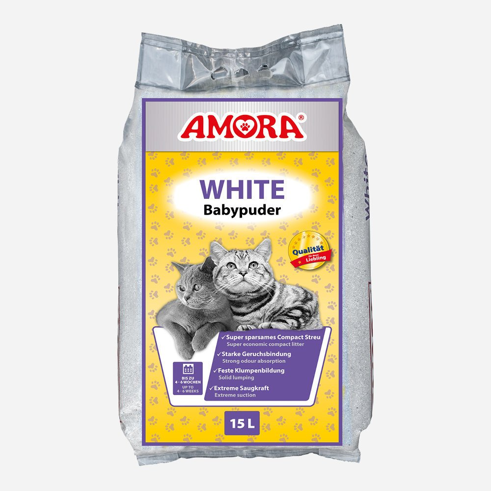 Amora Compact White Katzenstreu mit Babypuderduft