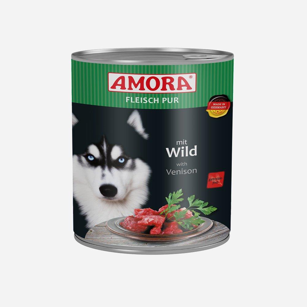Amora Nassfutter Fleisch pur getreidefrei, 6 x 800 g Wild