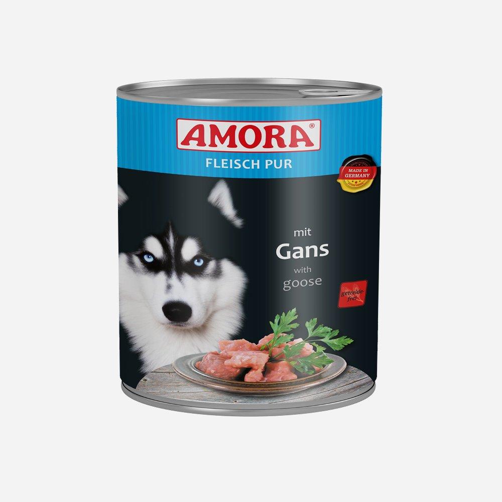 Amora Nassfutter Fleisch pur getreidefrei, 6 x 800 g Gans