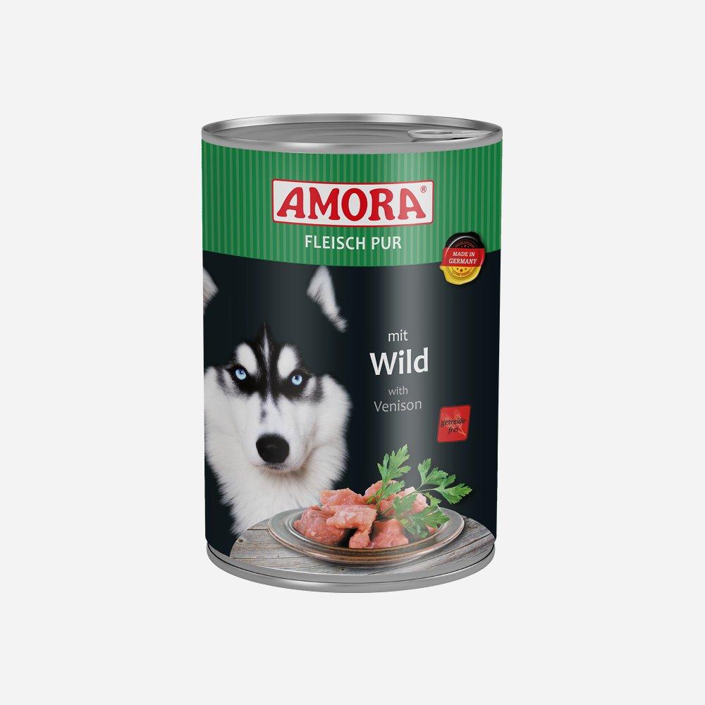 Amora Nassfutter Fleisch pur getreidefrei, 6 x 400 g Wild