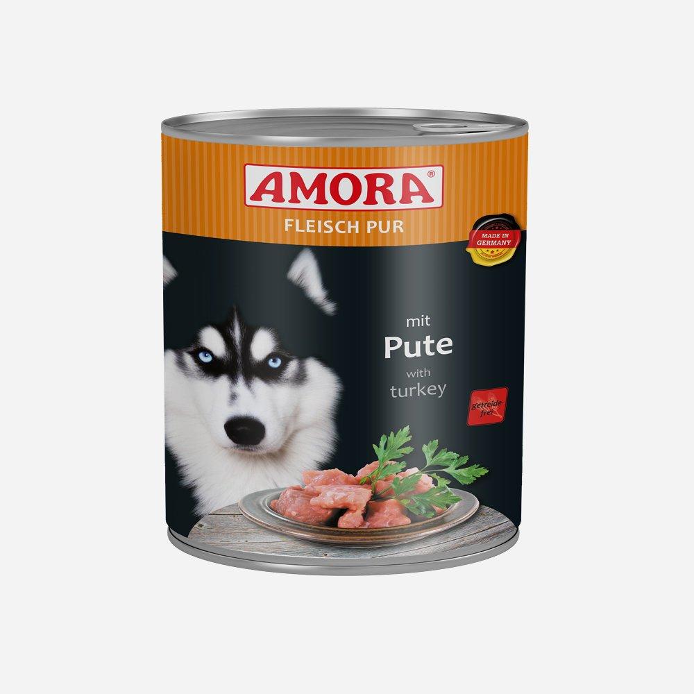 Amora Nassfutter Fleisch pur getreidefrei, 6 x 800 g Pute