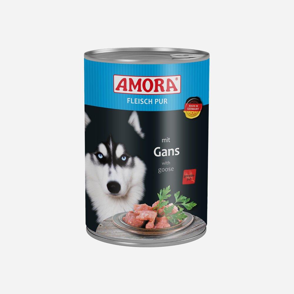 Amora Nassfutter Fleisch pur getreidefrei, 6 x 400 g Gans