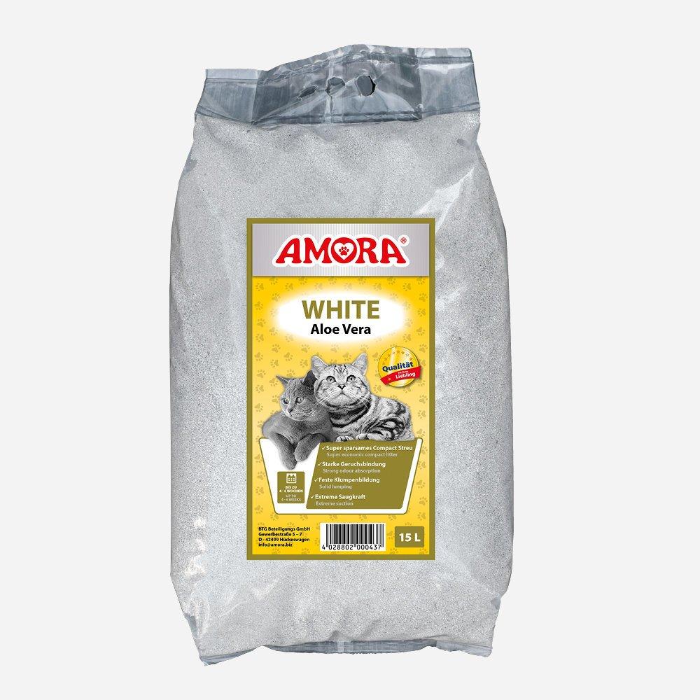 AMORA Katzenstreu White Compact Aloe Vera, 15 l