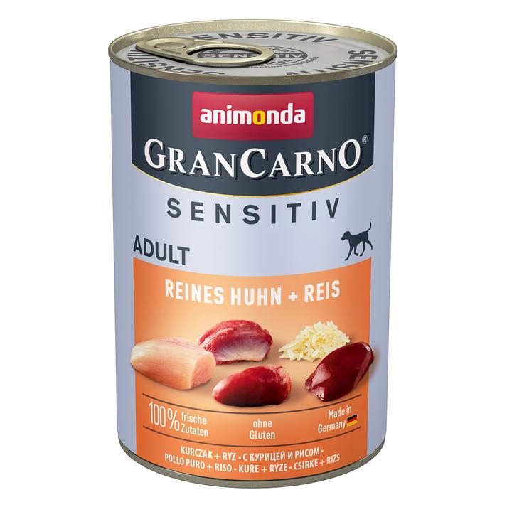 Animonda GranCarno Hundefutter mit Reis Sensitiv, Huhn, 6 x 400 g