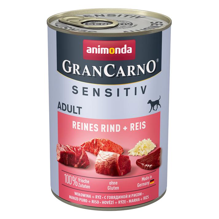 Animonda GranCarno Hundefutter mit Reis Sensitiv, Rind, 6 x 400 g