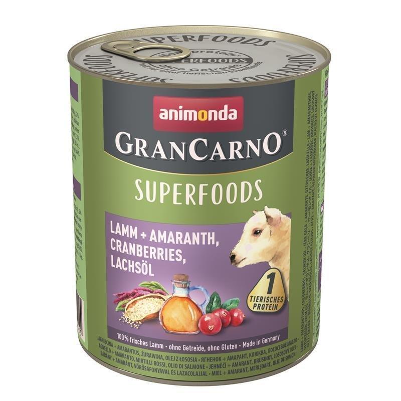 Animonda GranCarno Superfood Hundefutter, Lamm & Amaranth - 6 x 800 g