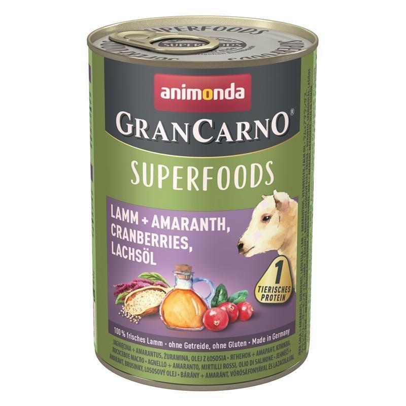 Animonda GranCarno Superfood Hundefutter, Lamm & Amaranth - 6 x 400 g