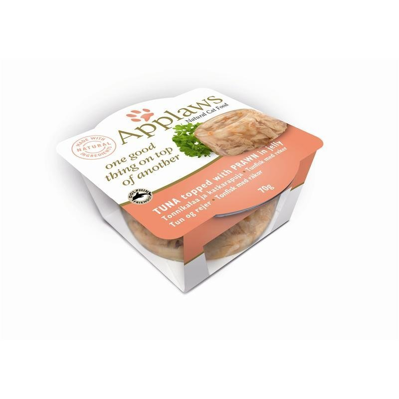 Applaws Cat Nassfutter Schale Layer in Gelee, Thunfisch mit Garnele - 12 x 70 g