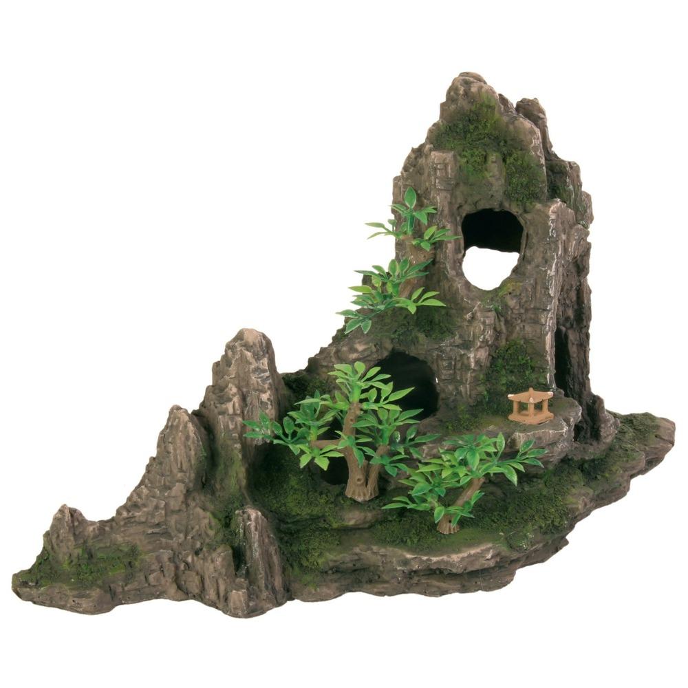 Trixie Aqarium Felsformation mit Höhle und Pflanzen, 27 cm