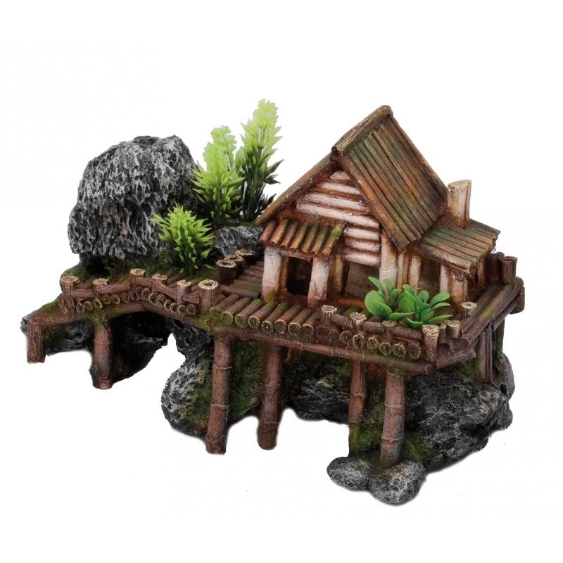 EBI Aqua Della Holzhaus mit Pflanzen, 27,5 x 13 x 16 cm