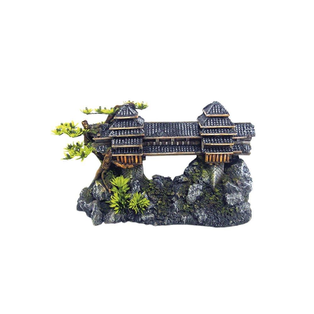 Nobby Aqua Ornaments ASIATISCHE BRÜCKE mit Pflanzen, Länge 26,5 x Breite 10,2 x Höhe 15,5 cm