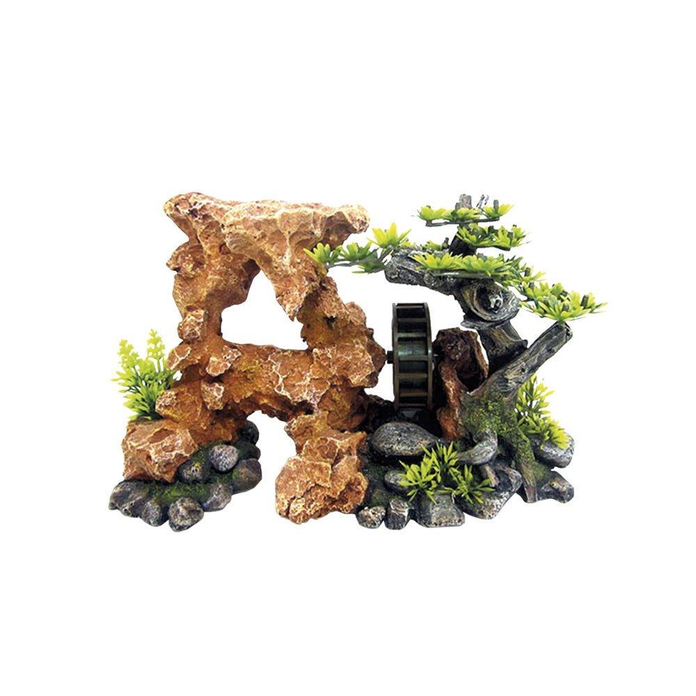 Nobby Aqua Ornaments Fels mit Wasserrad, 26,8 x 12,5 x 17,0 cm