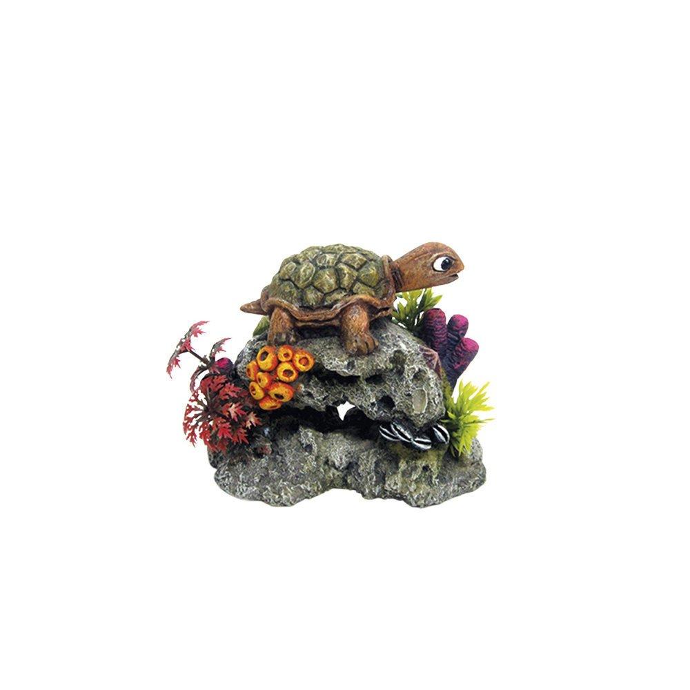 Nobby Aqua Ornaments Schildkröte auf Fels, 13,5 x 8,5 x 10,7 cm