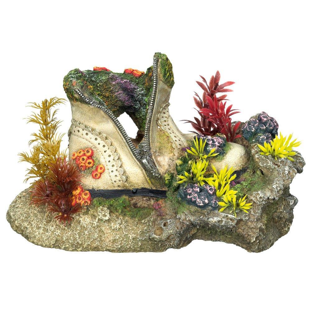 Nobby Aqua Ornaments Schuh mit Korallen mit Pflanzen, Länge 23,5 x Breite 13,5 x Höhe 13,0 cm