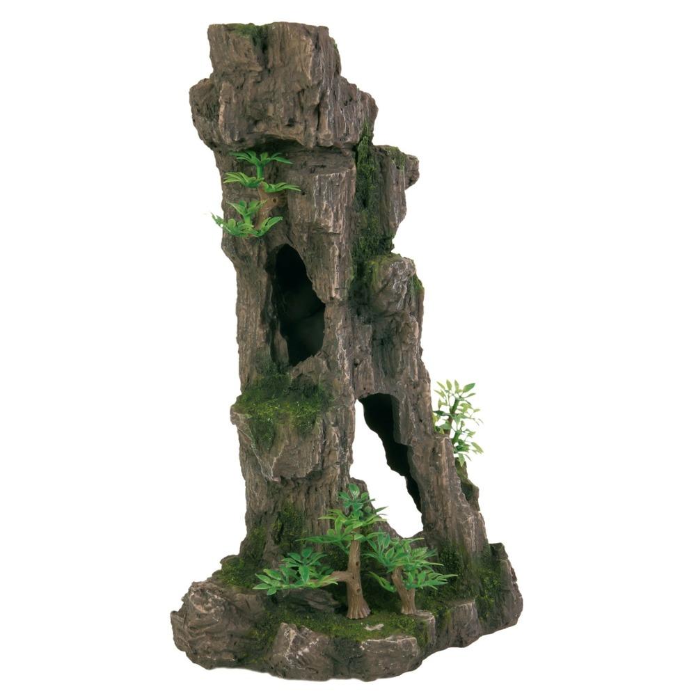 Trixie Aquarium Fels mit Höhle, mit Höhle/Pflanzen, stehend, 28 cm