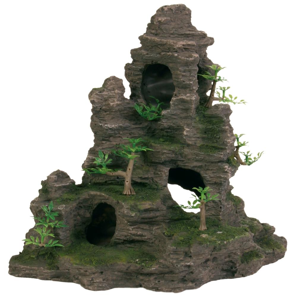 Trixie Aquarium Felsen mit Höhle und Pflanzen, stehend, 31 cm