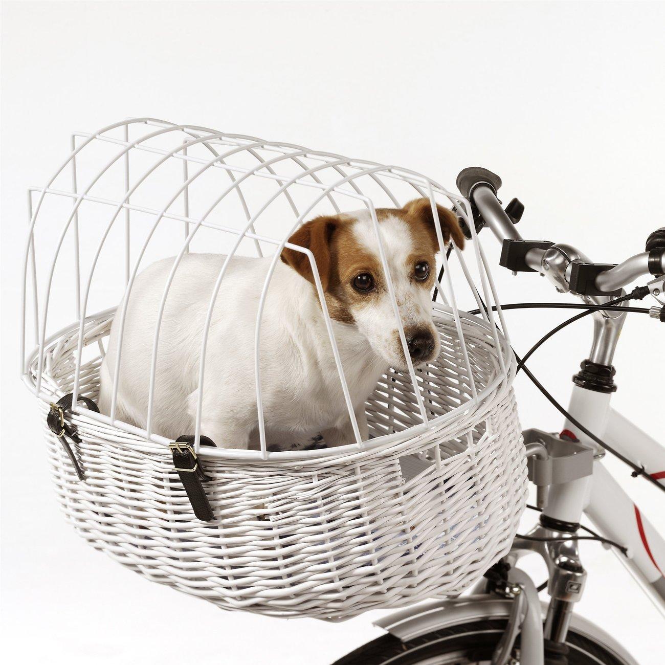 Aumüller E-Bike Hunde Fahrradkorb Standard vorne, 52 x 38 x 18/40 cm - inklusive Halterung, weiß