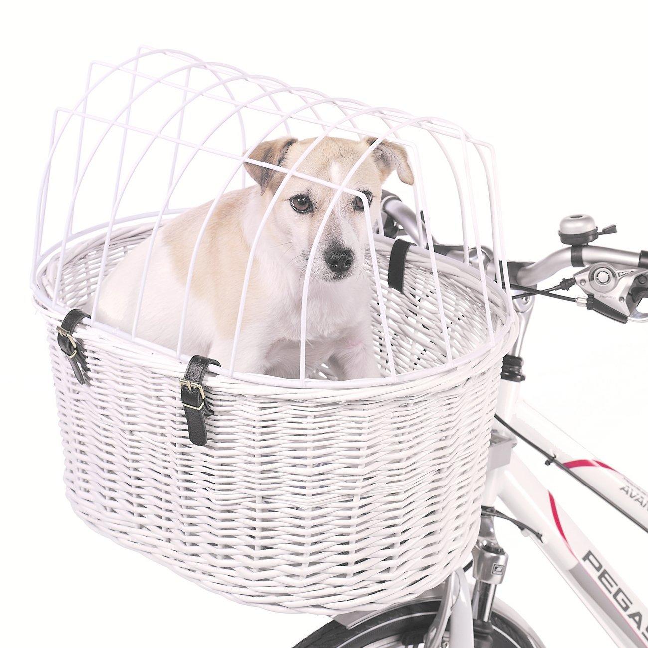 Aumüller Hunde Fahrradkorb extra hoch für E-Bikes, 53 x 40 x 25/46 cm - inklusive Halterung, weiß