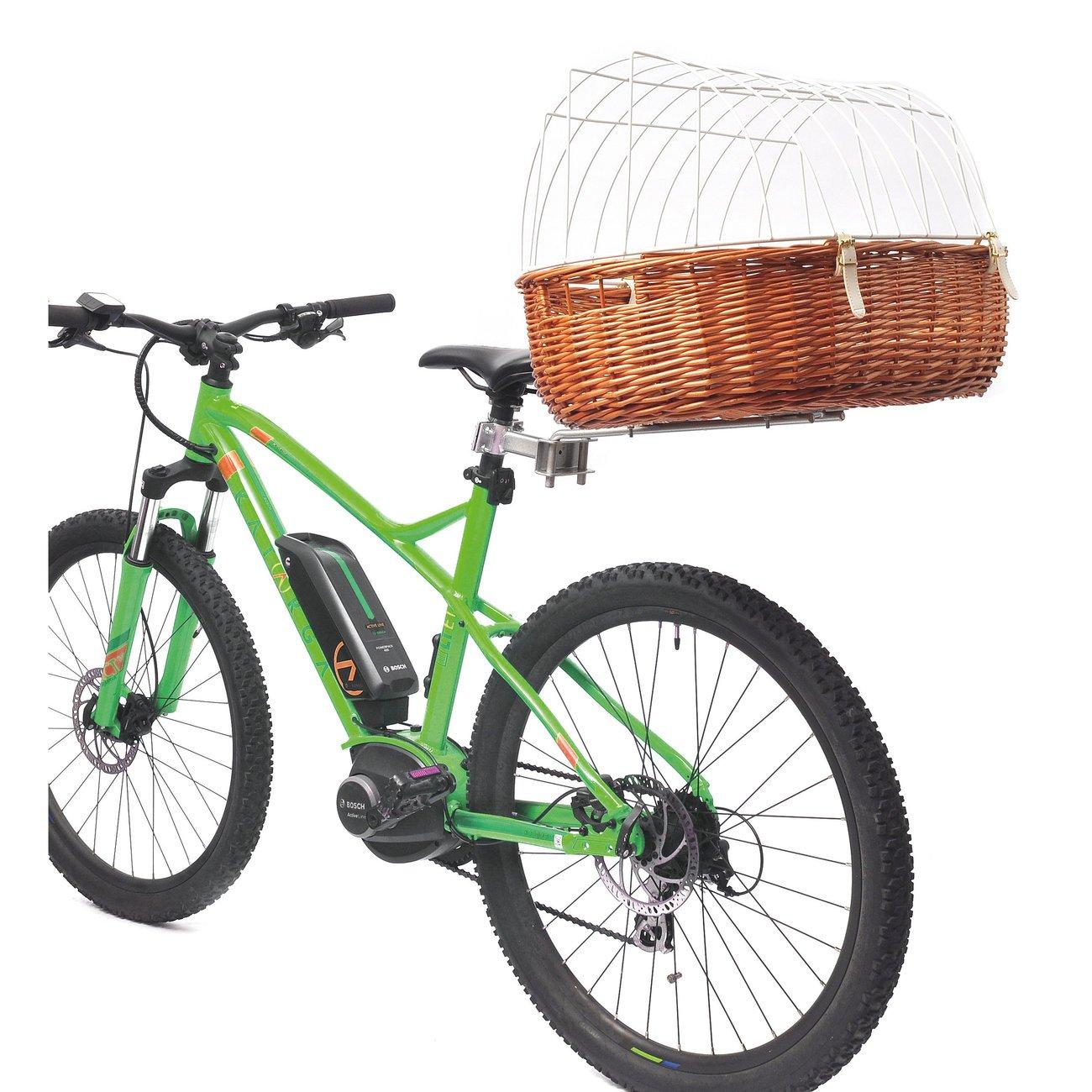 Aumüller Hunde Fahrradkorb für Gepäckträger, L: 52 x 38 x 18/40 cm, gesotten