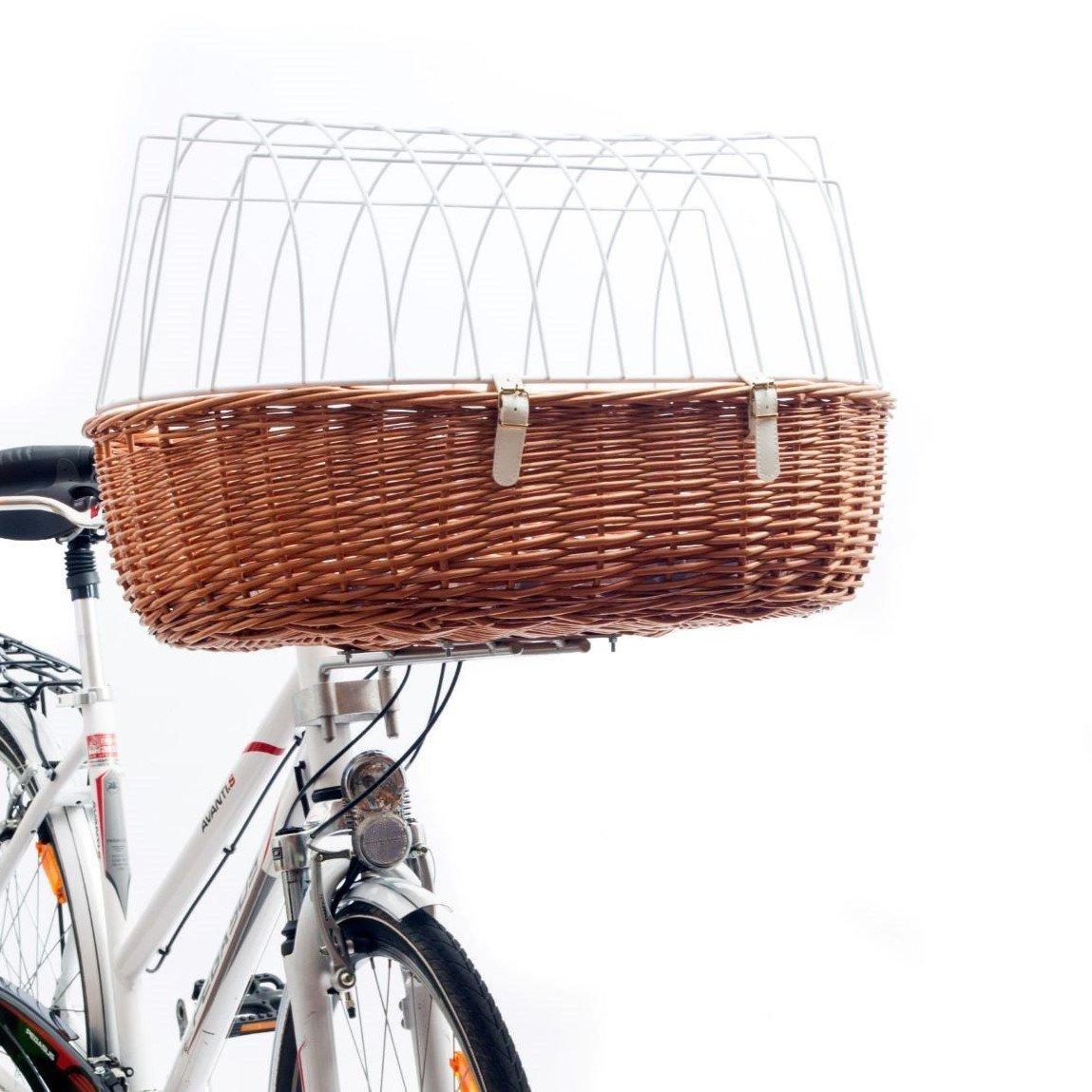 Aumüller Hunde Fahrradkorb hoch für E-Bike, XL: 68 x 46 x 18/40 cm, natur