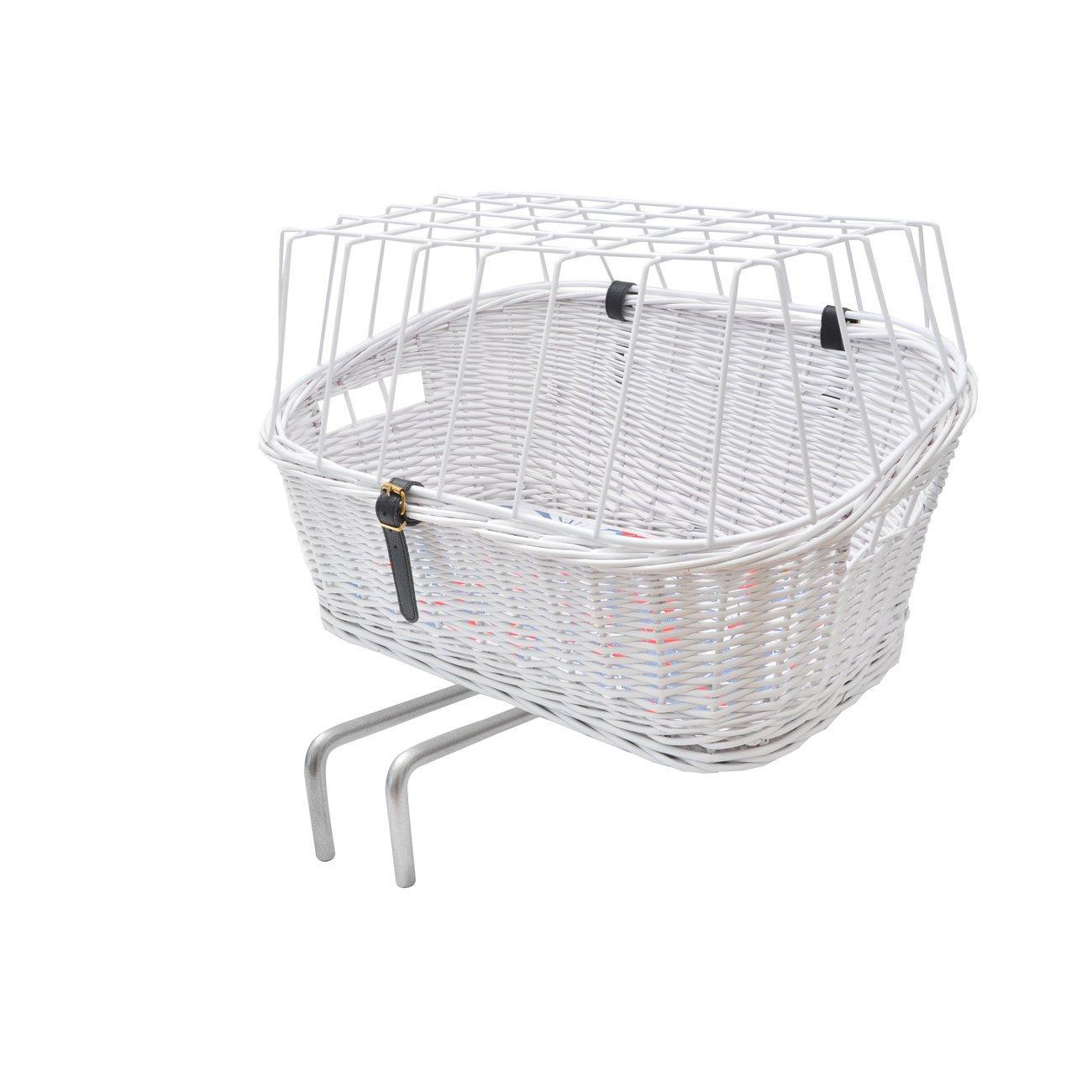 Aumüller Hunde Fahrradkorb hoch für E-Bike, L: 57 x 40 x 25/34 cm, weiß