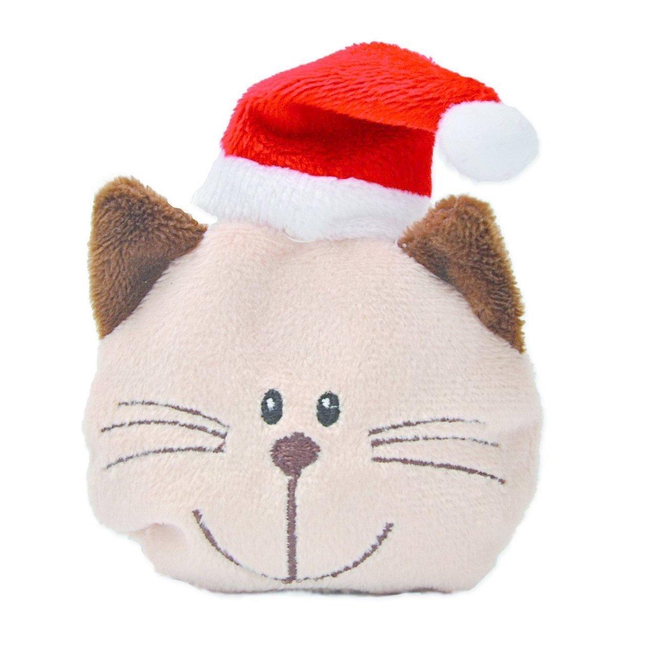 Aumüller Baldrian-Katzenspielkissen Katzenkopf Willy Weihnachtsedition, 8 x 8 cm