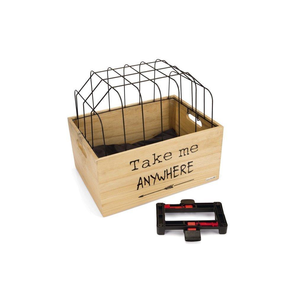 Beeztees Fahrradkorb Holzkiste mit Gitter, 45 x 33 x 45 cm, schwarz, gemustert