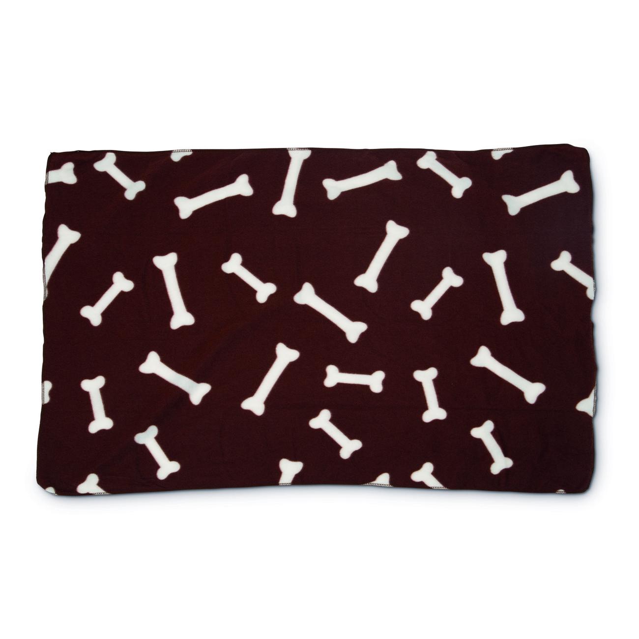 Beeztees Fleecedecke für Hunde Knochen, 100 x 70 cm, braun
