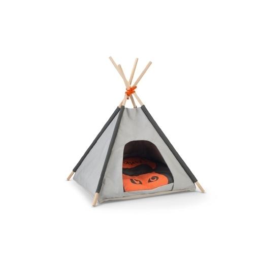 Beeztees Tipi Zelt für Katzen, 50 x 50 x 80 cm, grau / orange