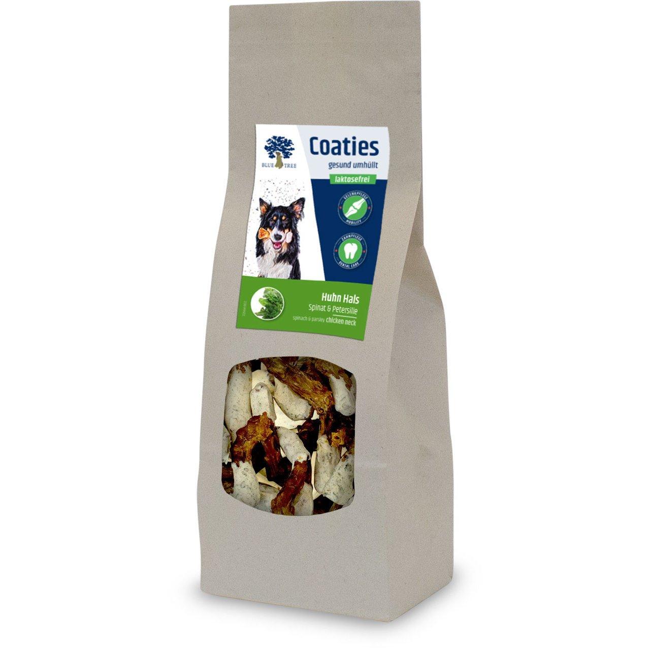 Blue Tree Coaties Hundekausnack mit laktosefreier Milch, Huhn Hals 100g