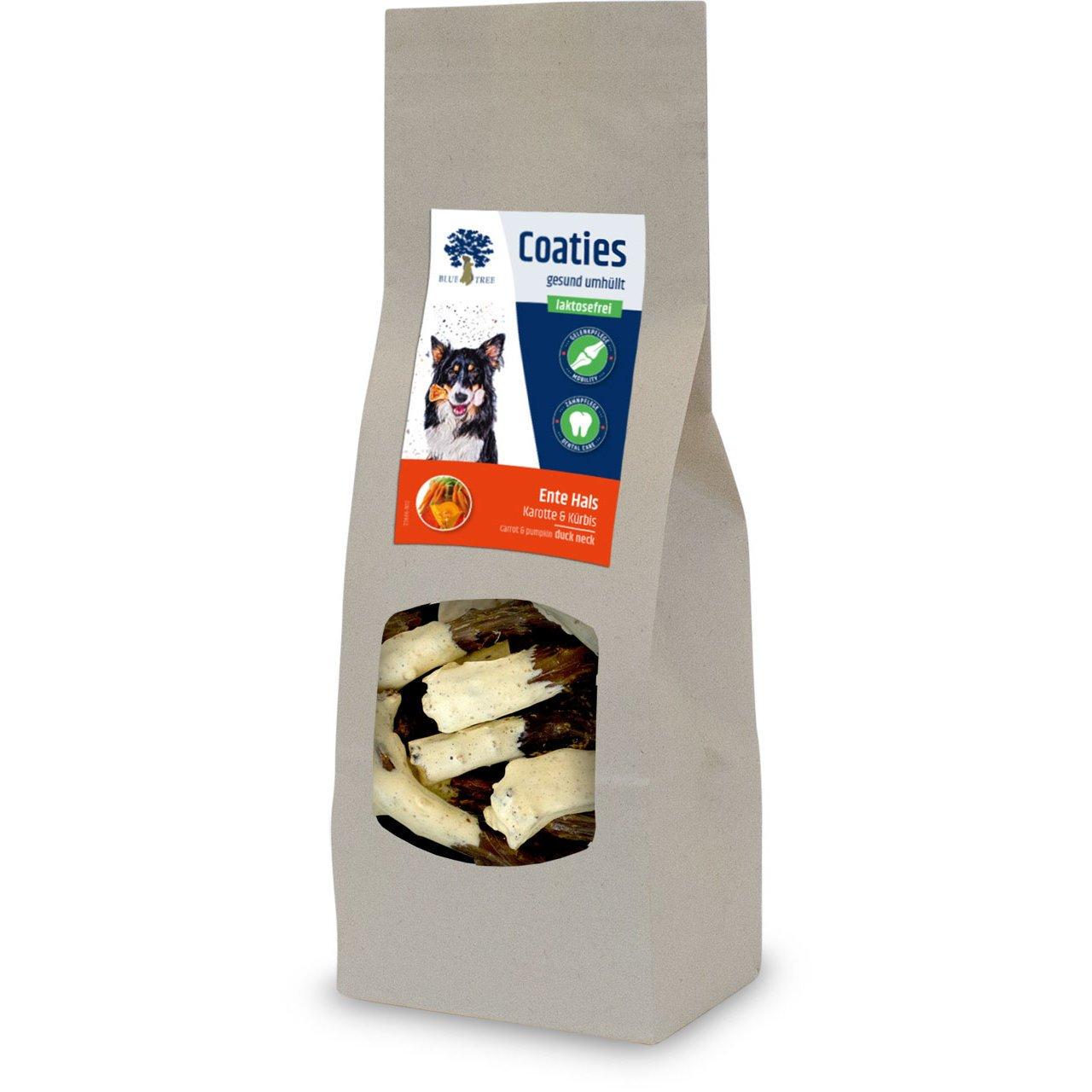 Blue Tree Coaties Hundekausnack mit laktosefreier Milch, Ente Hals 90g