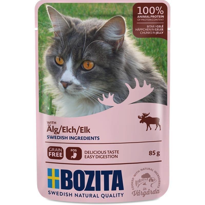 Bozita Katzenfutter Häppchen in Gelee, Elch - 12 x 85 g