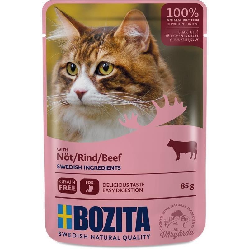 Bozita Katzenfutter Häppchen in Gelee, Rind - 12 x 85 g
