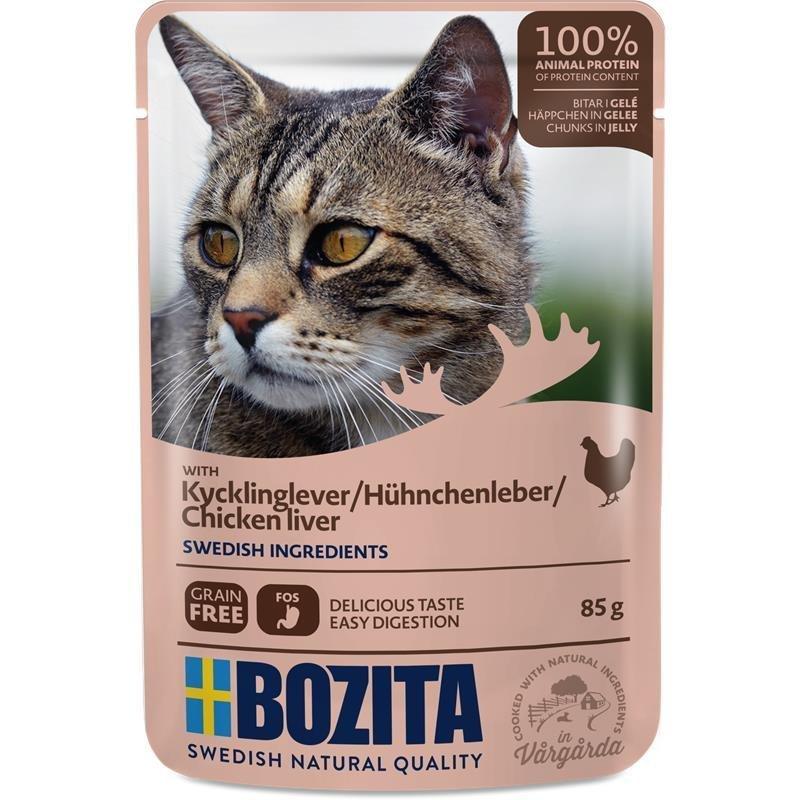 Bozita Katzenfutter Häppchen in Gelee, Hühnchenleber - 12 x 85 g