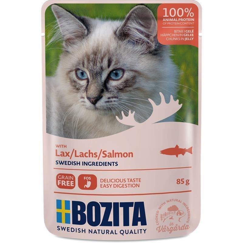 Bozita Katzenfutter Häppchen in Gelee, Lachs - 12 x 85 g