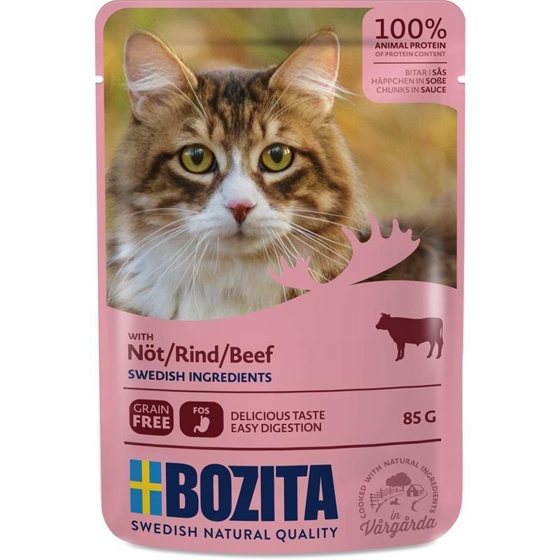 Bozita Pouch Katzenfutter Häppchen in Soße, Rind 12 x 85g