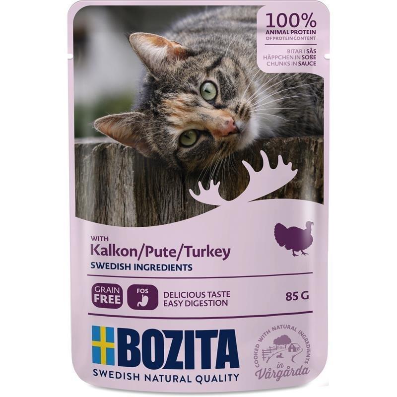 Bozita Pouch Katzenfutter Häppchen in Soße, Pute 12 x 85g