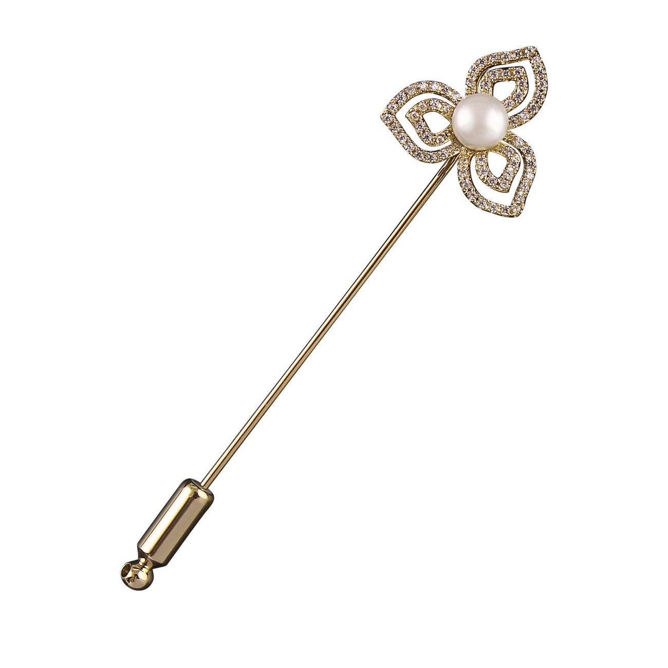 BUSSE Plastronnadel Floral, Länge: 70 mm - gold (Kristall-Perle)